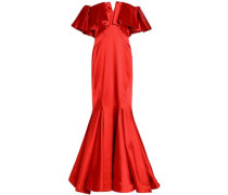 Off-the-shoulder ruffled duchesse-satin gown
