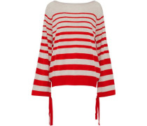 Tie-detailed Striped Cashmere Sweater Red
