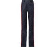 Velvet-trimmed High-rise Straight-leg Jeans Dark Denim