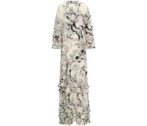 Tiered Floral-print Silk Crepe De Chine Gown Cream