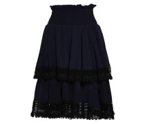 Macramé-trimmed Tiered Crepe Skirt Navy