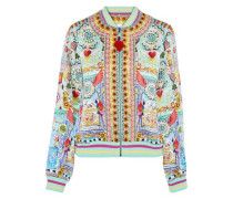 Close To My Heart embellished printed silk crepe de chine bomber jacket