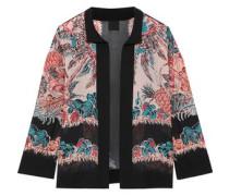Crepe-trimmed Printed Silk-chiffon Jacket Black  /S
