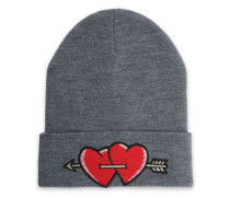 Embroidered knitted beanie