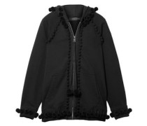 Pompom-trimmed French Cotton-terry Jacket Black