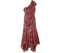 Leighton One-shoulder Ruffled Metallic Fil Coupé Silk-blend Dress Crimson