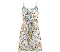 Woman The Butterfly Effect Embellished Silk Crepe De Chine Mini Dress Ivory