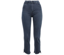 Cropped Frayed High-rise Slim-leg Jeans Storm Blue  4
