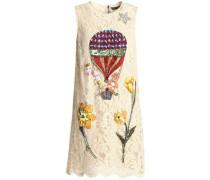 Embellished cotton-blend corded lace mini dress