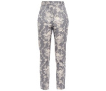 Woman Printed Wool-blend Twill Slim-leg Pants Gray