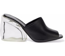 Leather And Perspex Mules Black