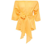 Off-the-shoulder Tie-front Gathered Cotton-poplin Blouse Marigold