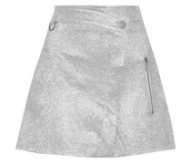 Wrap-effect Metallic Cracked-leather Mini Skirt Silver Size 0