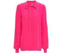 Tie-neck Silk Crepe De Chine Blouse Bright Pink