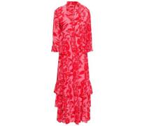 Ruffled Printed Silk-crepe Maxi Dress Bright Pink