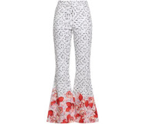 Printed Cotton-blend Flared Pants White