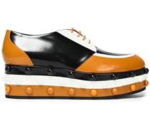 Color-block leather platform brogues
