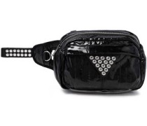 Woman Snap-embellished Patent-leather And Mesh Belt Bag Black
