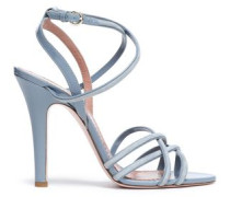 Patent Leather-trimmed Suede Sandals Light Blue