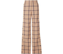 Checked Woven Wide-leg Pants Beige
