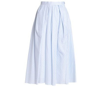 Pleated Cotton-jacquard Midi Skirt Light Blue