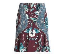 Paneled floral-print crepe skirt