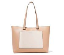 Karla Two-tone Leather Tote Sand Size --