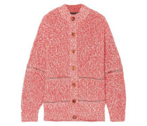 Zip-detailed cotton and wool-blend cardigan