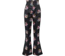 Nella Floral-print Satin Bootcut Pants Black