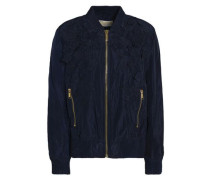Floral-appliquéd Shell Bomber Jacket Navy