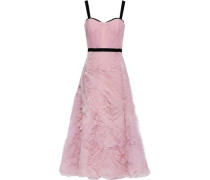 Velvet-trimmed Ruffled Tulle Maxi Dress Baby Pink Size 16