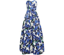 Floral-print Cotton-blend Faille Gown Blue