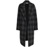 Checked Wool-blend Coat Dark Gray