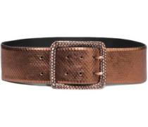 Metallic snake-effect leather belt