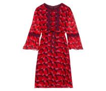 Guipure Lace-trimmed Printed Silk-georgette Mini Dress Red