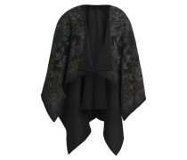 Draped cotton jacquard poncho