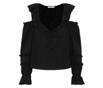 Pippa Cold-shoulder Ruffled Cotton-gauze Blouse Black