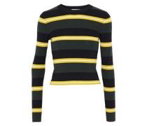 Shea striped ribbed wool-blend top