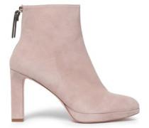 Woman Suede Platform Ankle Boots Blush
