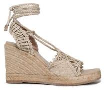 Lace-up macrame jute wedge sandals