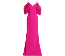 Cold-shoulder Appliquéd Crepe Gown Fuchsia