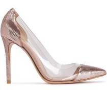 Palladium Silk-satin And Perspex Pumps Antique Rose