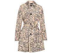 Leopard-print Cotton-blend Gabardine Trench Coat Beige