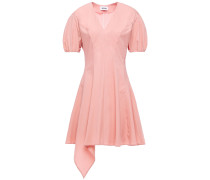 Woman Asymmetric Pleated Stretch-cotton Poplin Mini Dress Antique Rose