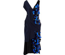 Woman Draped Satin And Sequined Silk-chiffon Midi Dress Midnight Blue