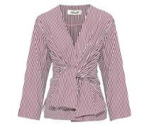 Woman Tie-front Striped Cotton-poplin Blouse Brick