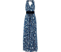 Belted Printed Chiffon Gown Azure
