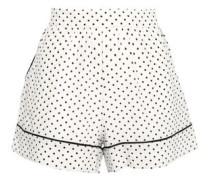 Polka-dot Silk Crepe De Chine Pajama Shorts White Size I