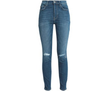 Joey Dark Destroy Distressed High-rise Skinny Jeans Mid Denim  4