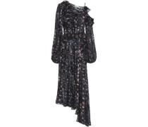 Cold-shoulder devoré silk-blend chiffon midi dress